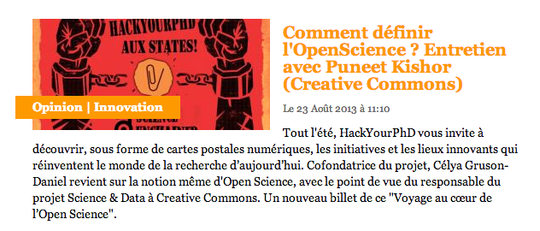 http://www.letudiant.fr/educpros/opinions/hackyourphd-comment-definir-l-open-science-entretien-eclairant-avec-puneet-kishor-creative-commons.html