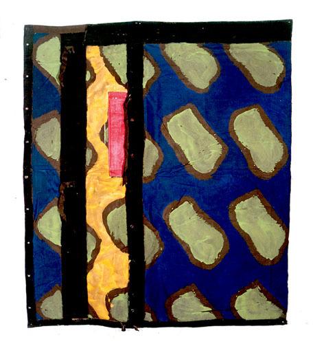 Visuel-claude-viallat-acrylique-sur-fragment-de-tente-militaire-180x155-cm-2004