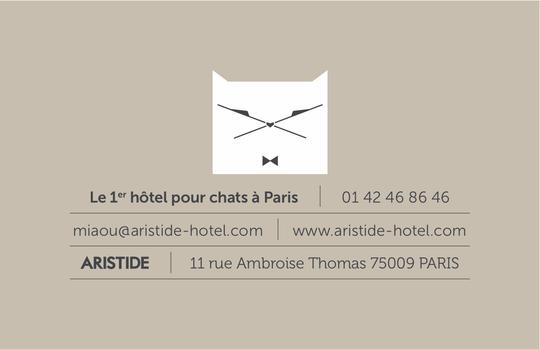 ARISTIDE le 1er hôtel pour chats à Paris - carte de visite