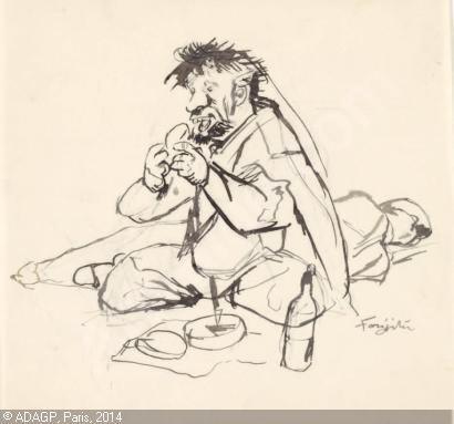 Foujita-tsuguharu-leonard-1886-le-clochard-et-son-tresor-3918203